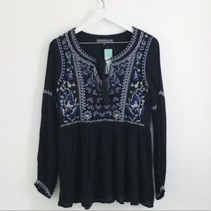 Brixon Ivy Aloe Embroidered Top Black Boho Small